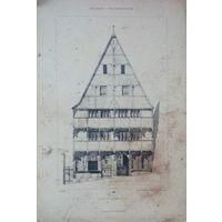 Гравюра. 19 век. HAUS ZU MARBURG 1320     48 X 32cm.