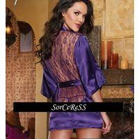 Сексуальный халатик с ажурной спинкой - фиолетовый