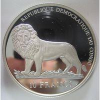 Конго. 10 франков 2006. ЧМ-2006. Серебро (68)