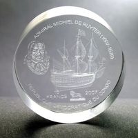 """Конго 10 франков 2007г. 3D """"Корабль Адмирал Мишель де Рейтер"""". Монета в подарочном футляре; сертификат; коробка. АКРИЛ 39гр."""