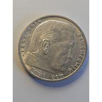 5 марок Германия A.(Третий Рейх-паук) 1938 год. Серебро 900 пробы.Монета не чищена.316