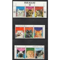 Парагвай Кошки 1984 год чистая полная серия из 7-ми марок и купонов