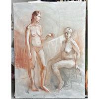 Натурщицы, рисунок мягким материалом, формат примерно 150х100 см