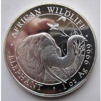 Сомали. 100 шиллингов 2018 Слон. Редкая. Серебро (99)