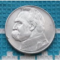 Польша 10 злотых 1937 года, AU. Маршал Юзеф Пилсудский. Серебро. RRR
