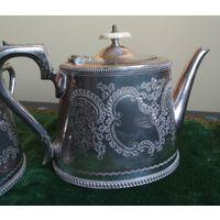 Чайный набор сервиз чайник (заварник) сахарница молочник Англия клеймо посеребрение слоновая кость