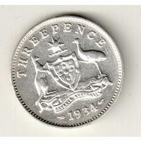 Австралия 3 пенс 1934