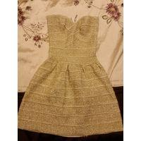 Золотое бандажное платье, р S
