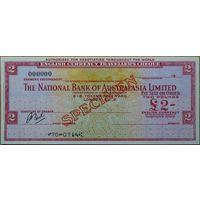 Австралия 2 Дорожных чека The National Bank of Australasia Limited 2 и 50 фунтов 1960-ых г. Образец aUNC