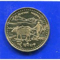 Непал 2 рупии 2006 UNC, Крестьянин , Эверест