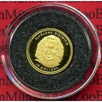 "Либерия 10 долларов 2001 ""Marlene Dietrich "" золото , Proof, Сертификат"