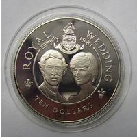 Каймановы острова. 10 долларов  1981 серебро  .12Е-15