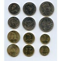 Заир НАБОР 6 монет 5,10,20 макут 1,2,3 заир 1976-88 UNC