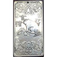 Тибетская тангка ГОД КАБАНА серебро