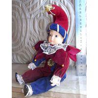 Кукла фарфоровая Арлекин-клоун, Германия