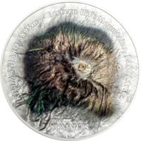 """Острова Кука 25 долларов 2019г. """"Горная вершина Килиманджаро"""". Монета в капсуле; подарочной рамке - сертификате. СЕРЕБРО 155,50гр.(5 oz)."""