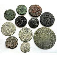 11 МОНЕТ ВКЛ И РЕЧИ ПОСПОЛИТОЙ (МЕДЬ, СЕРЕБРО: ОРТ 1668 Г. ЯН II КАЗИМИР, ПОЛУГРОШ 1560 г. ПОЛТОРАК 1624 г. ДВУДЕНАРИЙ 1570 г.) ПО БЛИЦУ - ПОЧТА НА МНЕ!!!