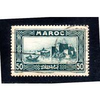 Марокко.Mi:MA 104.Французская колония Марокко.Дворец.Лодка.1933.