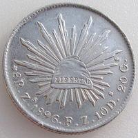 Мексика, 8 реалов/ 8 reales 1896 года, серебро 903/ 27 г, REPUBLICA MEXICANA, KM# 377.3