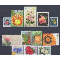 [1758] Флора.Цветы. 12 чистых марок без клея.