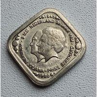 Нидерланды 5 центов, 1980 35 лет освобождения Нидерландов от фашистских захватчиков /Юлиана и Бернард/ 3-14-35