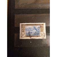 1913 Французская колония Берег Слоновой Кости лодка флот 2 франка крупный номинал (2-16)