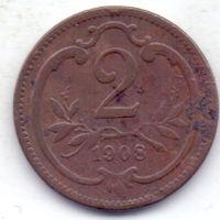 Австро-Венгрия, 2 геллера 1908 года.