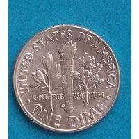 США 1 дайм (10 центов) 1958D. Серебро 0,900. Состояние. С рубля.