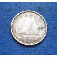 Канада 10 центов 1942 Серебро