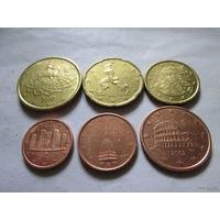 Италия, 6 евромонет 2002 г., (1, 2, 5, 10, 20, 50 евроцентов)