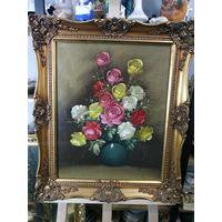 Антикварная Картина Цветы Масло 51х41 см  на Холсте -  Рама Дерево Багет 63х53 Золото Лепнина
