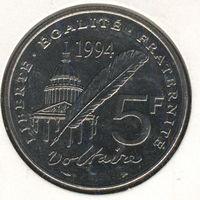 Франция 5 франков 1994 г. 300-летие со Дня рождения Вольтера.
