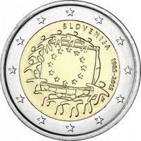 2 евро Словения 2015 30 лет флагу UNC из ролла