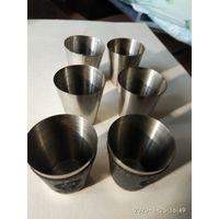 Новый набор стальных рюмок из 6 штук в чехле Россия.
