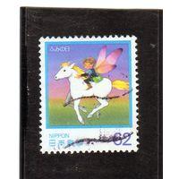 Япония.Ми-BL-155. Международный день письма.Почтальон на крылатом коне. 1991.