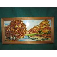 Картина-репродукция украшенная кусочками янтаря.Размер 32х16 см.