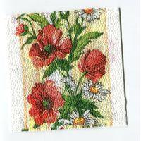 Салфетка для декупажа. Летняя, маки, ромашки цветы. 24х24 см