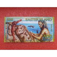 Банкнота Остров Пасхи 500 ронго образца 2011 года.Полимер.Редкость!