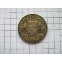 Реюньон 20 франков 1955г.