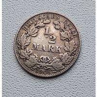 """Германия 1/2 марки, 1906 """"D"""" - Мюнхен 7-10-15"""