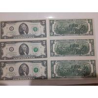 2 доллара США 2013 года со звездой (звездные), 3 банкноты L03520842, L03520843, L03520844