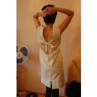 Платье Шанелькой. Беж с блеском. Открытая спина р. 44-46