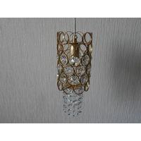 Лампа - светильник подвесная хрусталь латунь Германия высота 28 см., маленький цоколь.