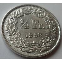 """Швейцария 1/2 франка 1958 """"Гельвеция"""""""