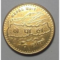 """Непал, 1 рупия 2007 год """"Карта,Эверест"""""""
