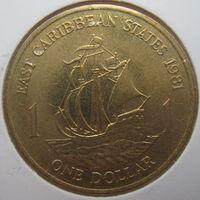 Восточные Карибы 1 доллар 1981 г. Парусник. Корабль В холдере