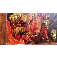ХРАМОВАЯ! по ЗОЛОТУ!! Икона Воскресения Христа с Праздниками В КИОТЕ. RRR! ОГРОМНАЯ -- 45/38-3.5см