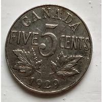 Канада 5 центов, 1929  2-1-7