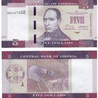 Либерия  5 долларов 2016 год  UNC (новинка)