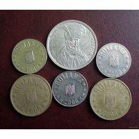 Румыния. 6 монет 1993-2009 г.